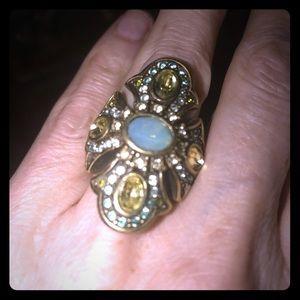 Jewelry - Ring. Big greens and aquamarine colors.